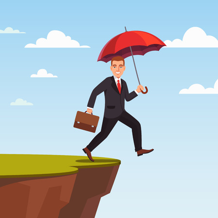 Businessman leap of faith concept. Presumptuous man of business walks off the cliff with red umbrella and suitcase. Flat style vector illustration. Illustration