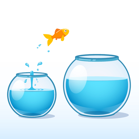daring: Goldfish making a leap of faith to a bigger fishbowl. Flat style vector illustration isolated on white background.