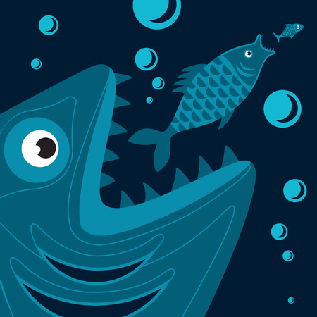 bigger: Corporate business aggressive merger concept. Food chain. Bigger fish eating smaller one. Flat style vector illustration isolated on white background. Illustration