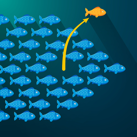 many: Independent fish break free from its shoal. Entrepreneur concept. Flat style vector illustration.