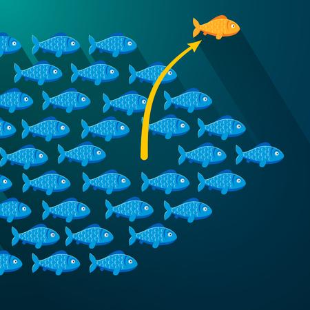 Onafhankelijke vissen bevrijden uit zijn ondiepte. Ondernemer concept. Vlakke stijl vector illustratie.