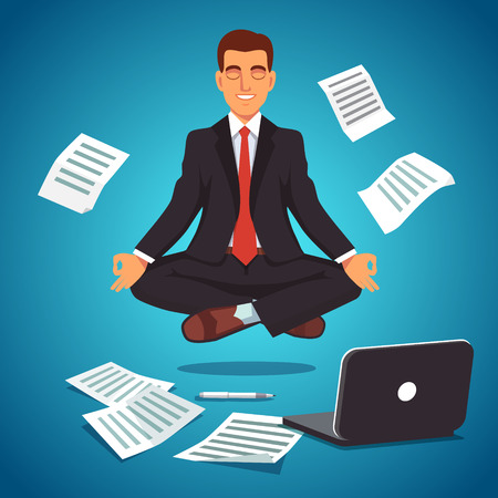 Young businessman executive in nice suit and red tie meditating and levitating in yoga position. Flat style vector illustration isolated on white background.
