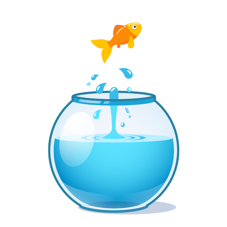 Strong goldfish jumping out of fishbowl water in search of freedom. Flat style vector illustration isolated on white background.