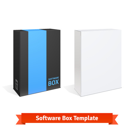 software box: White cardboard software box. Blank and color templates. Flat style vector illustration isolated on white background.