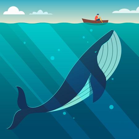 ballena azul: enorme ballena blanca debajo de la pequeña embarcación. concepto de poder oculto. ilustración vectorial de estilo plano.