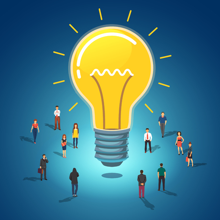 small group of objects: Big idea concept. Huge glowing lightbulb surrounded by group of people. Flat style vector illustration isolated on white background. Illustration