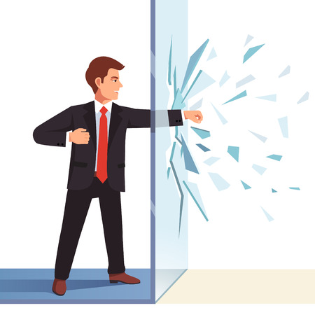 unbreakable: Businessman breaking through invisible glass wall. Flat style vector illustration isolated on white background.