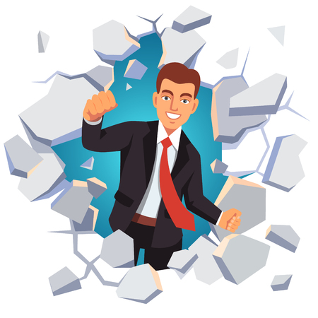 breakthrough: Business man breaking through white concrete wall. Leadership concept. Flat style vector illustration isolated on white background.