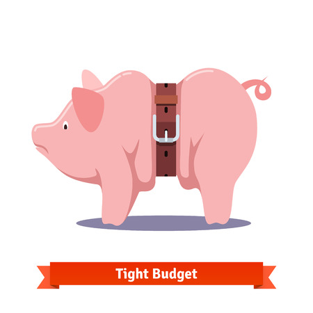 Tight budget and recession shrinking economy concept. Fat piggy bank squeezed by leather strap belt. Flat style vector illustration isolated on white background.