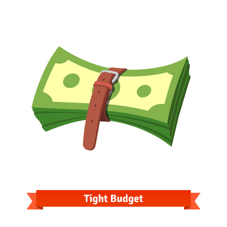 tightening: Tight budget and recession shrinking economy concept. Pack of money dollar bills squeezed by leather strap belt. Flat style vector illustration isolated on white background.