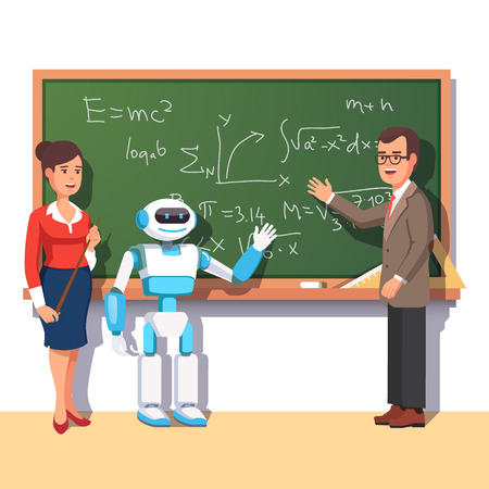 student teacher: Modern robot helping teachers in the physics class at the chalkboard with formulas. Flat style vector illustration isolated on white background.