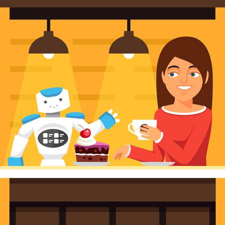 attractive woman: Robot waiter serving coffee and cake. Helper talking to a attractive customer woman. Flat style vector illustration isolated on yellow background. Illustration