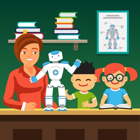 Jonge honours cursus studenten leren robotica met de leerkracht en humanoïde tweevoetige robot. Vlakke stijl illustratie geïsoleerd op een groene achtergrond.