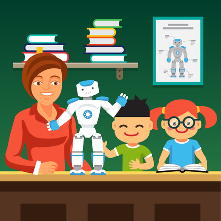 Young honors course students learning robotics with teacher and humanoid bipedal robot.  Flat style vector illustration isolated on green background.