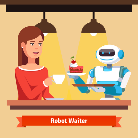 Robot waiter serving coffee and cake. Helper smiling to a attractive customer woman. Flat style vector illustration isolated on yellow background.