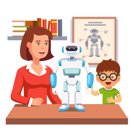 Young honors course student learning robotics with teacher and humanoid bipedal robot in classroom.  Flat style vector illustration isolated on white background.