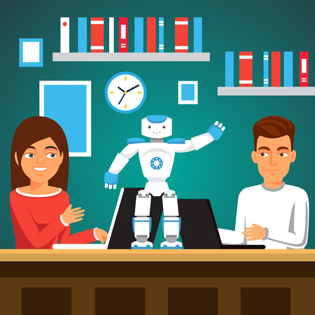 bipedal: University students man and woman programming humanoid bipedal robot at their laptops. Artificial intelligence science class. Flat style vector illustration.