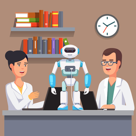 students in class: Young researchers man and woman in white smocks programming humanoid bipedal robot at their laptops. Artificial intelligence science. Flat style vector illustration isolated on grey background.