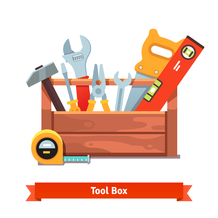 Wooden toolbox full of equipment. Flat style vector illustration isolated on white background. Stock Illustratie