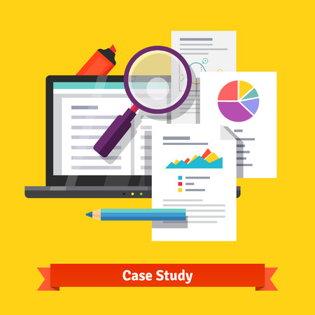 study: Case study research concept. Flat style vector illustration isolated on white background.