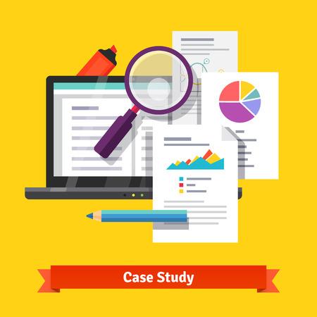 case: Concepto de investigación de estudios de caso. ilustración vectorial de estilo plano aislado en el fondo blanco.