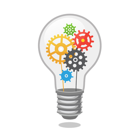 Bright idea light bulb with cogs. Flat style vector illustration isolated on white background.