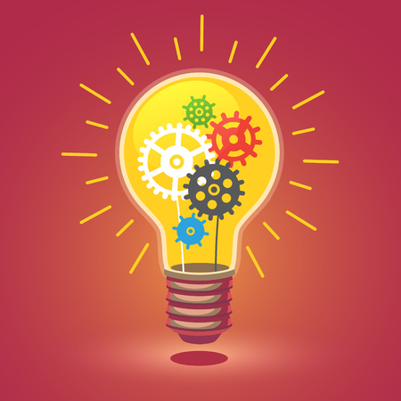 Shining bright idea light bulb with cogs. Flat style vector illustration isolated on white background. Vectores