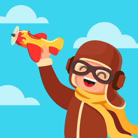 airman: Boy kid dressed like a pilot playing with yellow and red toy plane. Flat style vector illustration isolated on blue sky background.