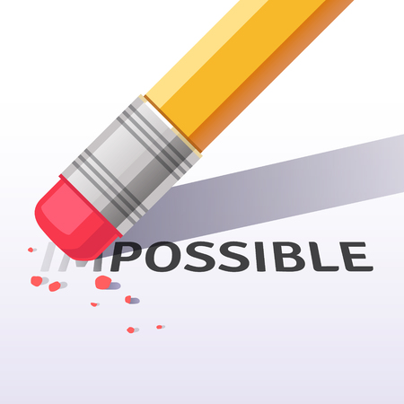 Changing the word impossible to possible with a pencil eraser. Flat style vector illustration isolated on white background. Illustration