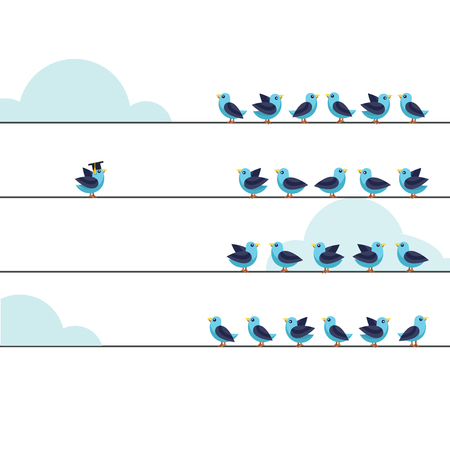 the thinker: Independent thinker and individual leadership concept. Group of pigeon birds on a wire with one at the other side. Flat style vector illustration isolated on white background.