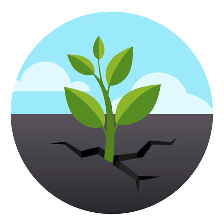 crack: Little green sprout grows through asphalt ground. Flat style vector illustration isolated on white background.