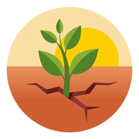 hojas secas: Poco brote verde que crece a través del suelo seco del desierto. ilustración vectorial de estilo plano aislado en el fondo blanco. Vectores