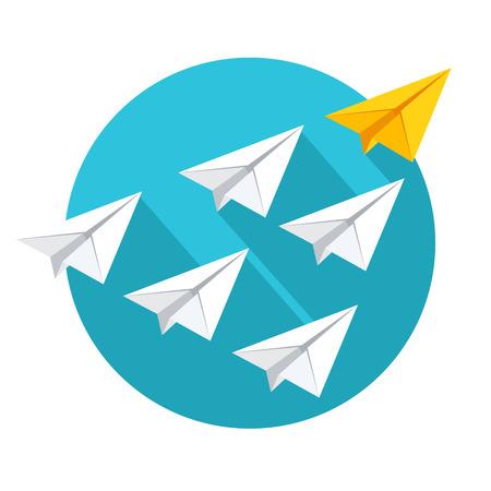 lider: Concepto de liderazgo y trabajo en equipo. Grupo de aviones de papel volando por detrás del líder amarilla. ilustración vectorial de estilo plano aislado en el fondo blanco.