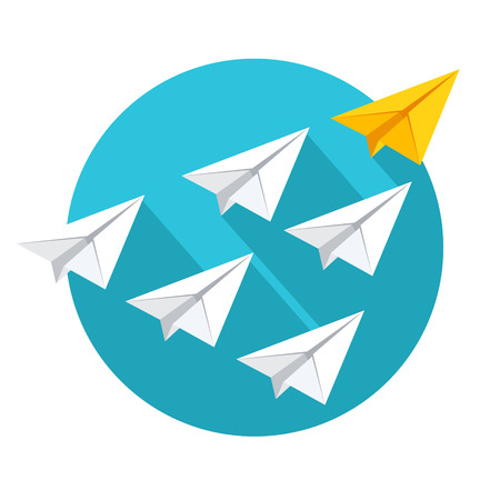 Leadership and teamwork concept. Group of paper planes flying behind the yellow leader. Flat style vector illustration isolated on white background. Vettoriali