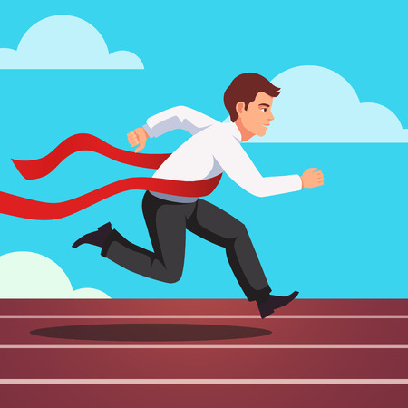 Running businessman crosses a finish line red ribbon, winning a race. Flat style vector illustration isolated on white background.