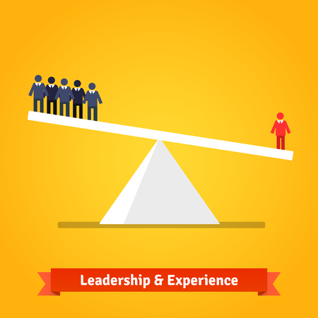 outweighs: Leadership and experience of the one outweighs group of others. Flat style vector illustration isolated on white background.