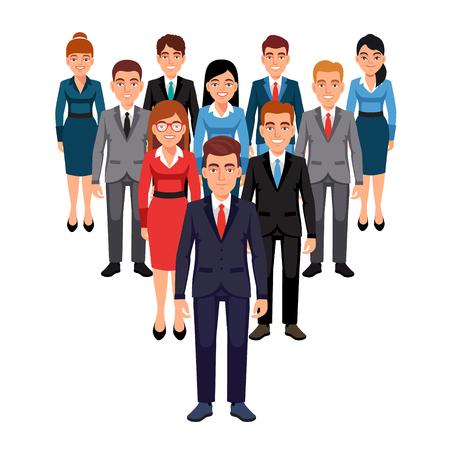 Executives team staan in de vorm van een driehoek piramide achter hun leider. Leiderschap concept. Vlakke stijl vector illustratie geïsoleerd op een witte achtergrond.