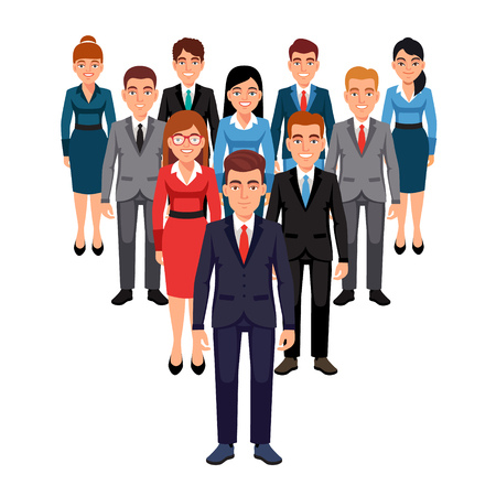 marketing team: Executives team standing in form of triangle pyramid behind their leader. Leadership concept. Flat style vector illustration isolated on white background.