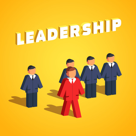 entrepreneurship: Leadership and entrepreneurship concept. Man stands out of line to lead his colleagues. Flat style vector illustration isolated on white background. Illustration