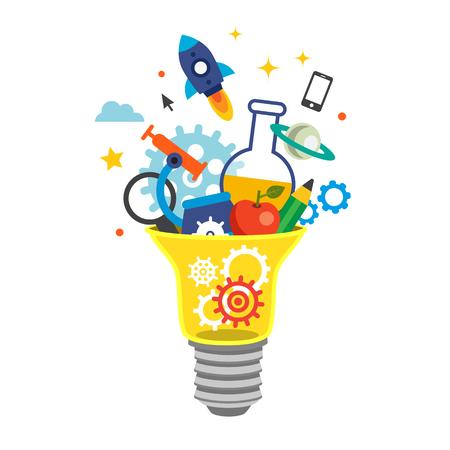 Glühbirne mit Zahnräder und Ideen platzen. Education-Konzept. Wohnung Stil Vektor-Illustration isoliert auf weißem Hintergrund. Vektorgrafik