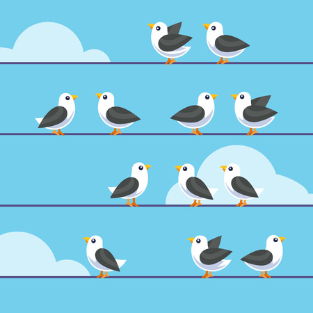 small flock: Flock of birds sitting on a wires. Flat style vector illustration isolated on blue background.