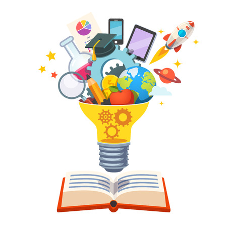 Light bulb with gears inside floating over big book bursting with new ideas. Education concept. Flat style vector illustration isolated on white background. Çizim