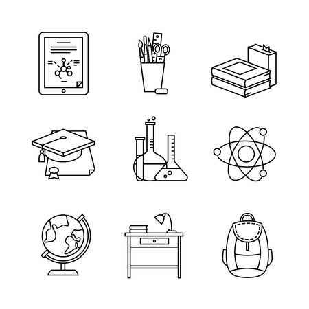 test tube holder: Education learning and school thin line art icons set. Modern flat style symbols isolated on white for infographics or web use. Illustration