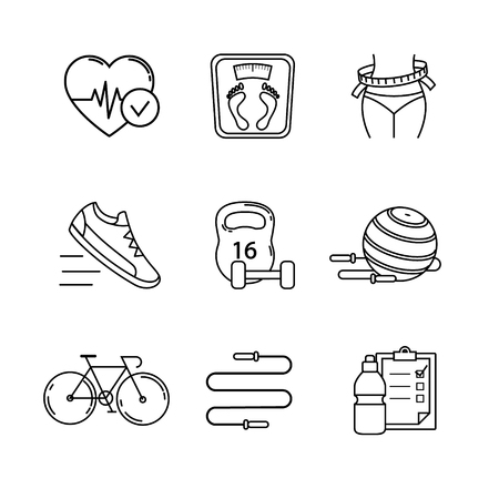 girl drinking water: Slimming, fitness and healthy lifestyle thin line art icons set. Modern flat style symbols isolated on white for infographics or web use. Illustration