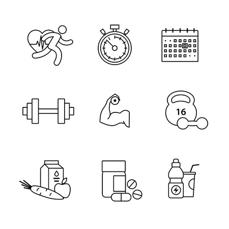bicep curls: Bodybuilder, health, fitness and running thin line art icons set. Modern black symbols isolated on white for infographics or web use.