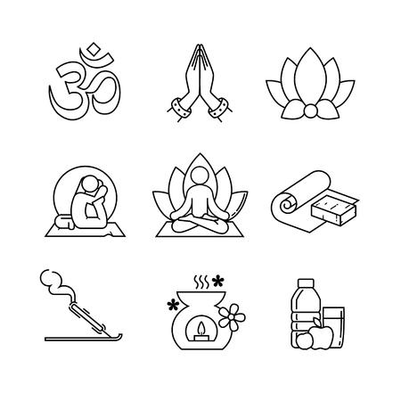 Yoga sottile linea di icone insieme di arte. I moderni simboli neri isolati su bianco per infografica o l'uso web. Vettoriali
