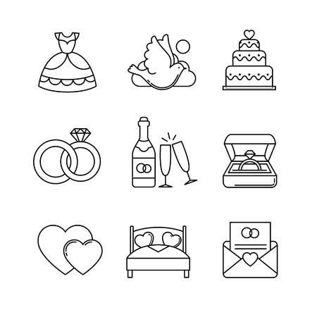 marriage bed: Wedding and marriage thin line art icons set. Modern black symbols isolated on white for infographics or web use. Illustration