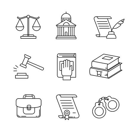 justice legal: Legal, law, lawyer and court thin line art icons set. Modern black symbols isolated on white for infographics or web use.