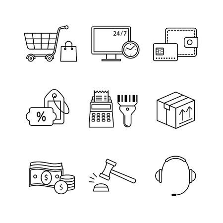 icônes commerce de détail de produits, le commerce sur internet et le shopping ligne mince art fixés. Moderne symboles noirs isolé sur blanc pour infographies ou l'utilisation du Web.