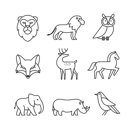 人気のある野生生物動物細い線アート アイコンを設定します。モダンな黒のシンボルは、インフォ グラフィックや web 用白で隔離。